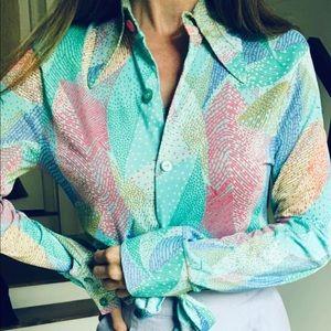 Vintage 70s bright pastels dagger collar top